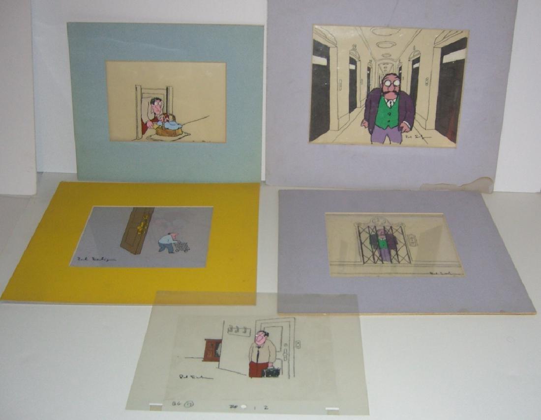 9 cartoon animation cells by Paul Fierlinger