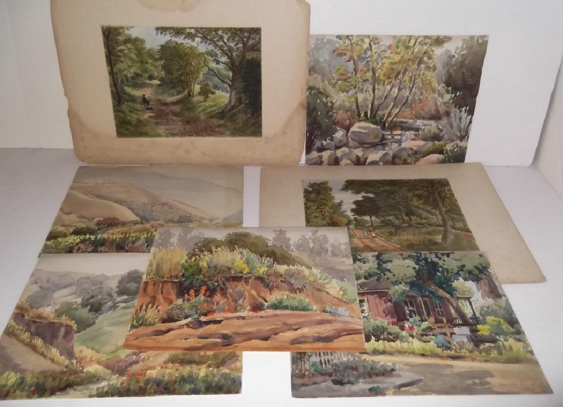 7 landscape watercolors/mixed media paintings