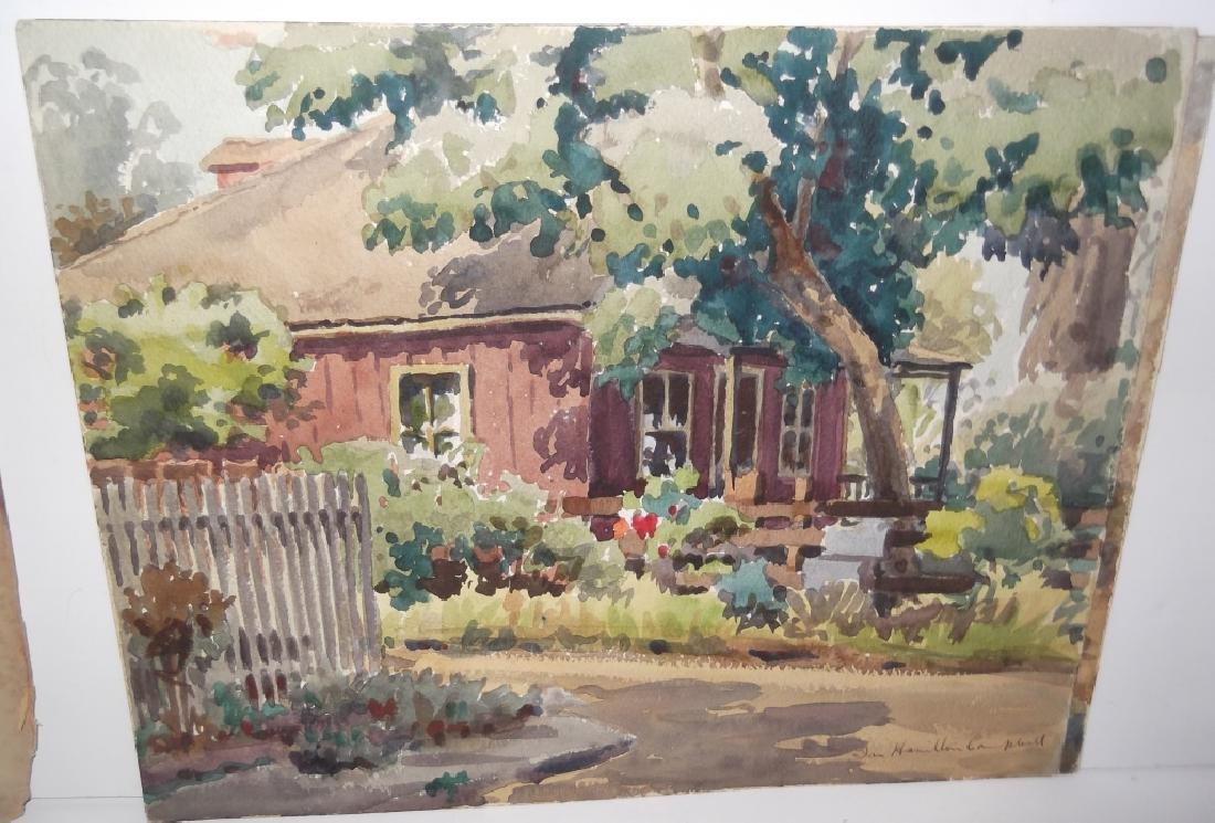 7 landscape watercolors/mixed media paintings - 8