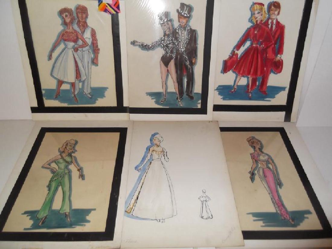 12 original vintage fashion illustration drawings