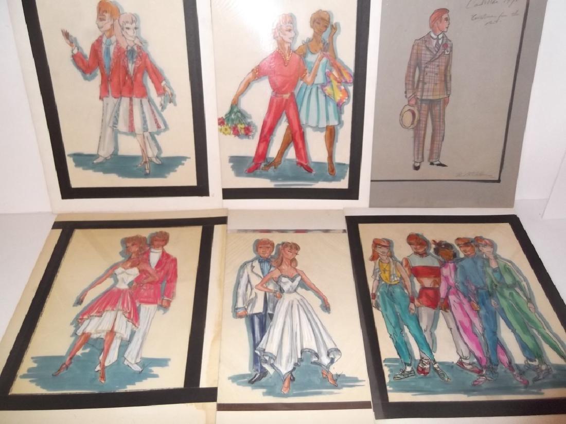 12 original vintage fashion illustration drawings - 2