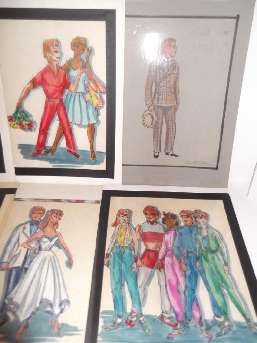 12 original vintage fashion illustration drawings - 3