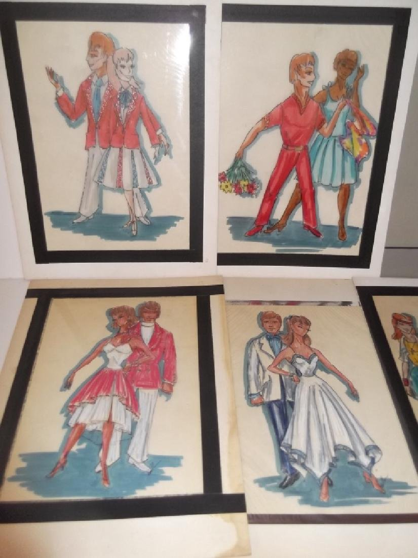12 original vintage fashion illustration drawings - 5