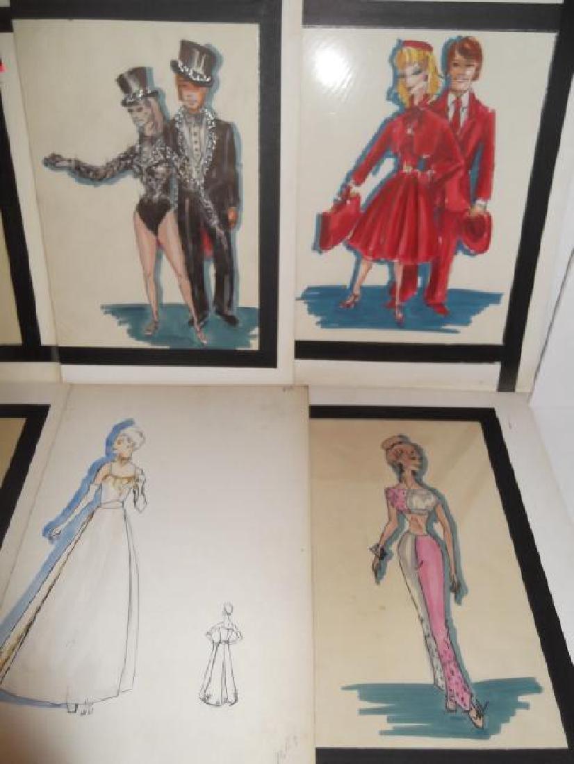 12 original vintage fashion illustration drawings - 6