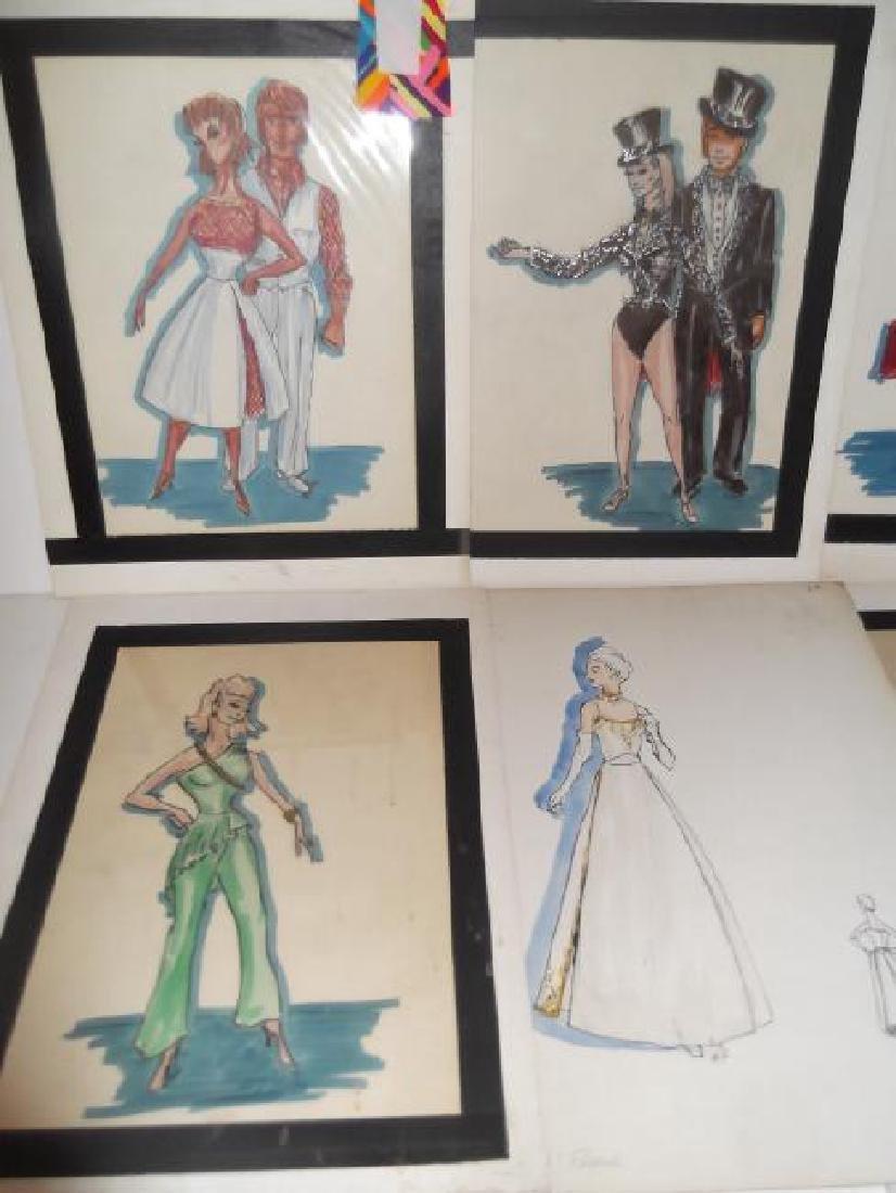 12 original vintage fashion illustration drawings - 8