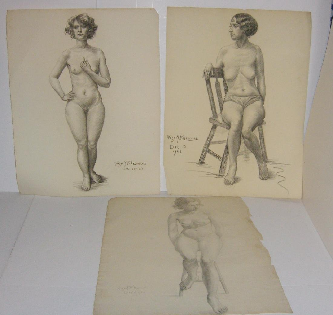 3 1920's  nude woman charcoal & pencil drawings