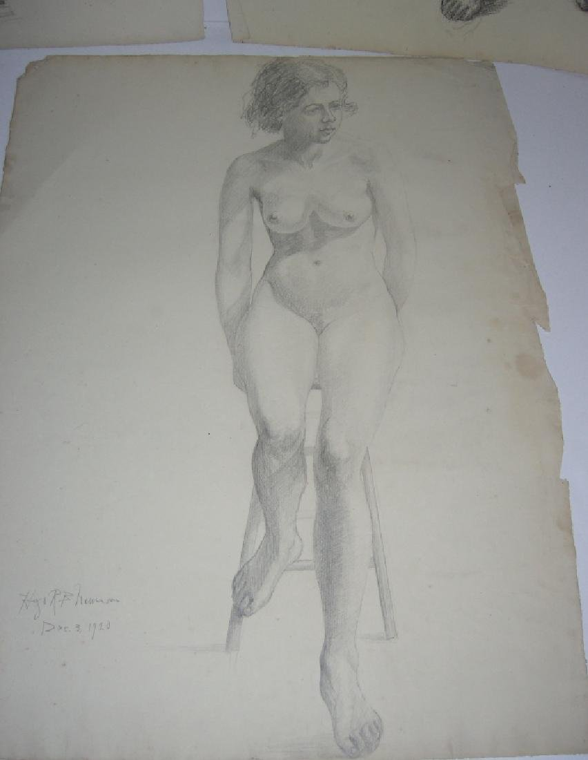 3 1920's  nude woman charcoal & pencil drawings - 3