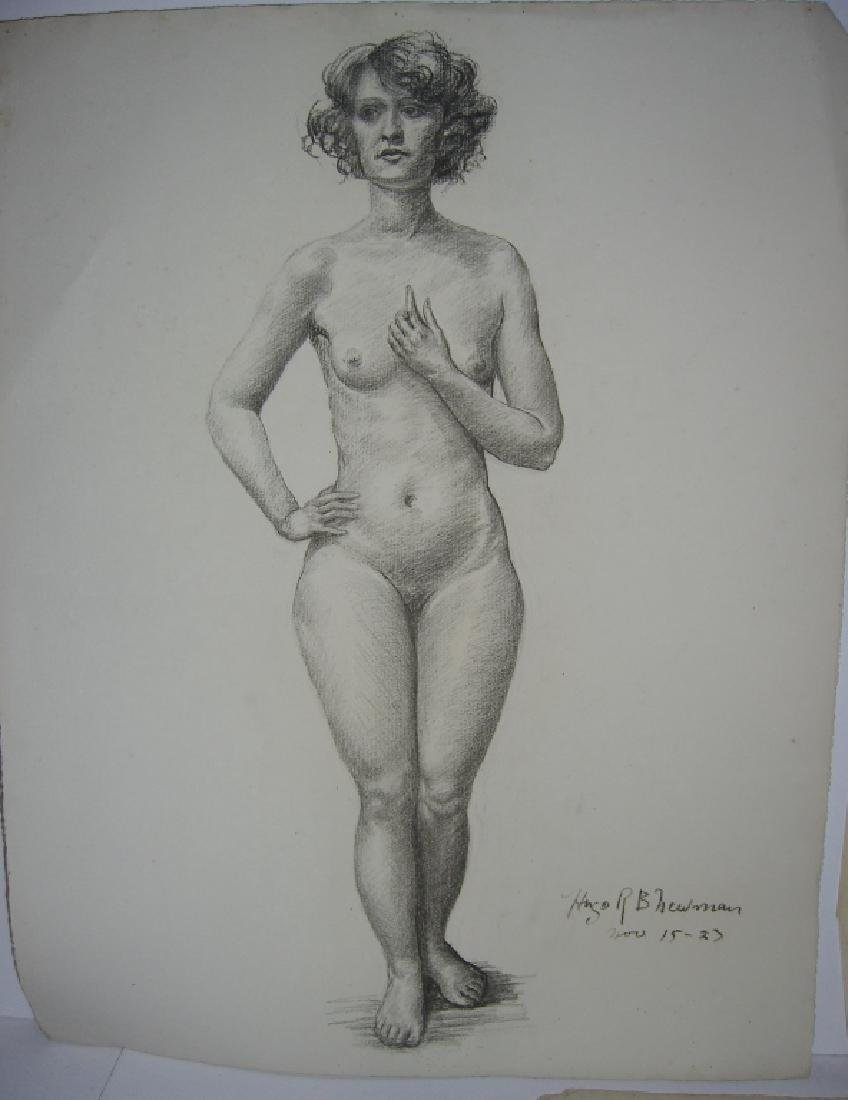3 1920's  nude woman charcoal & pencil drawings - 4