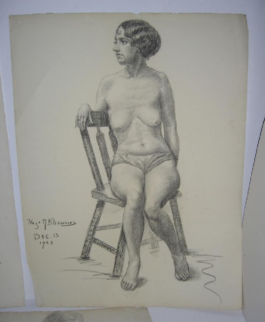 3 1920's  nude woman charcoal & pencil drawings - 5