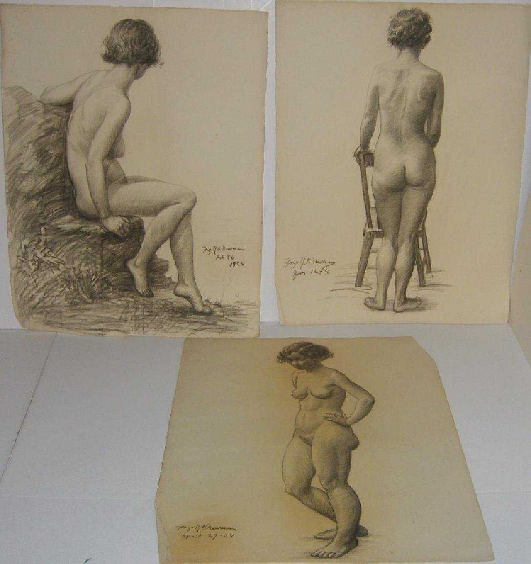 3 1920's  nude woman charcoal drawings
