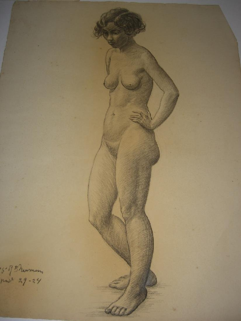 3 1920's  nude woman charcoal drawings - 3