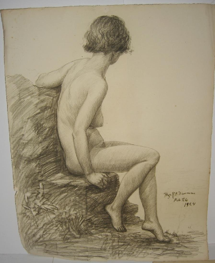 3 1920's  nude woman charcoal drawings - 4