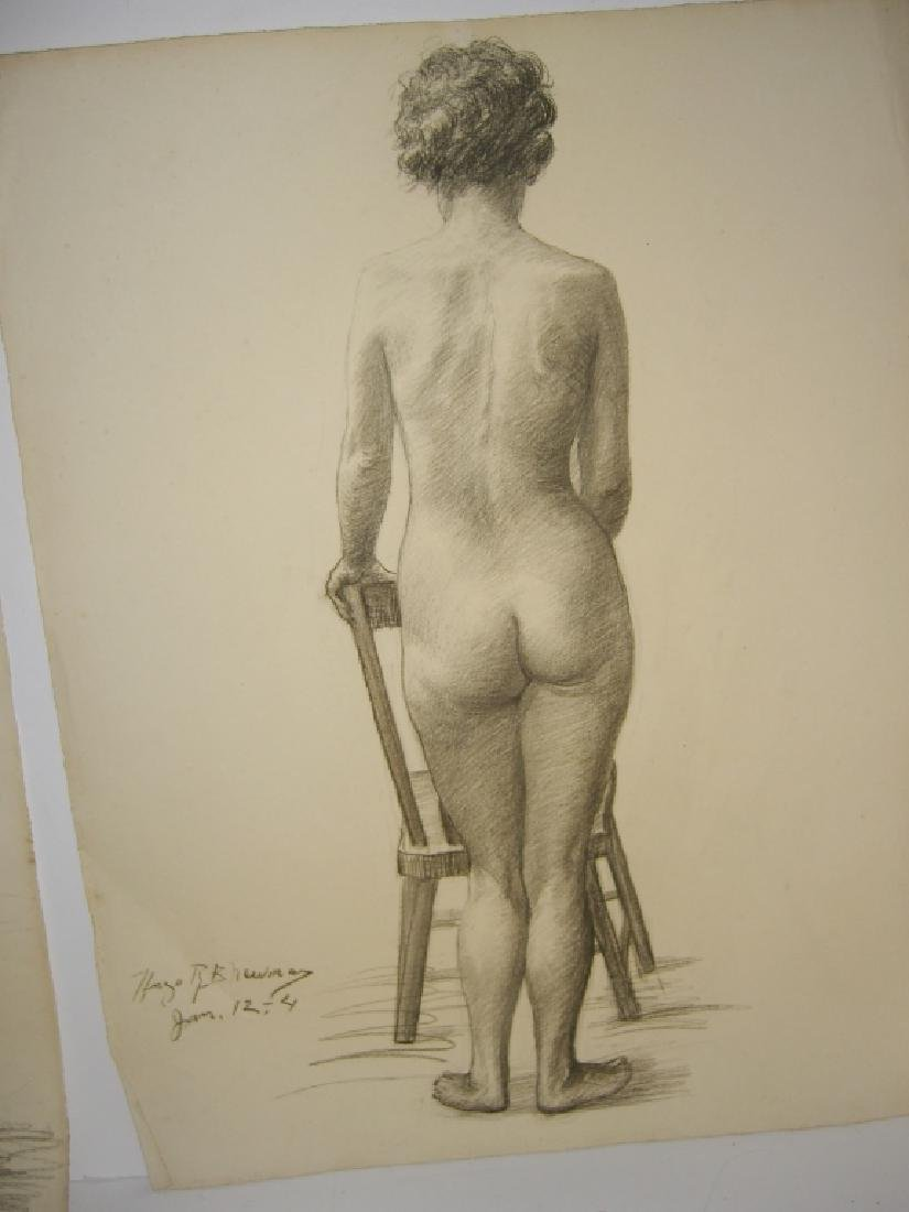 3 1920's  nude woman charcoal drawings - 5