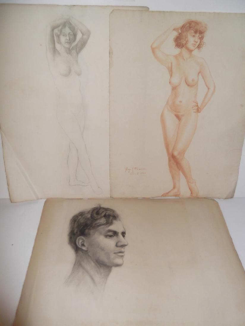 3 1920's charcoal/pastel  drawings