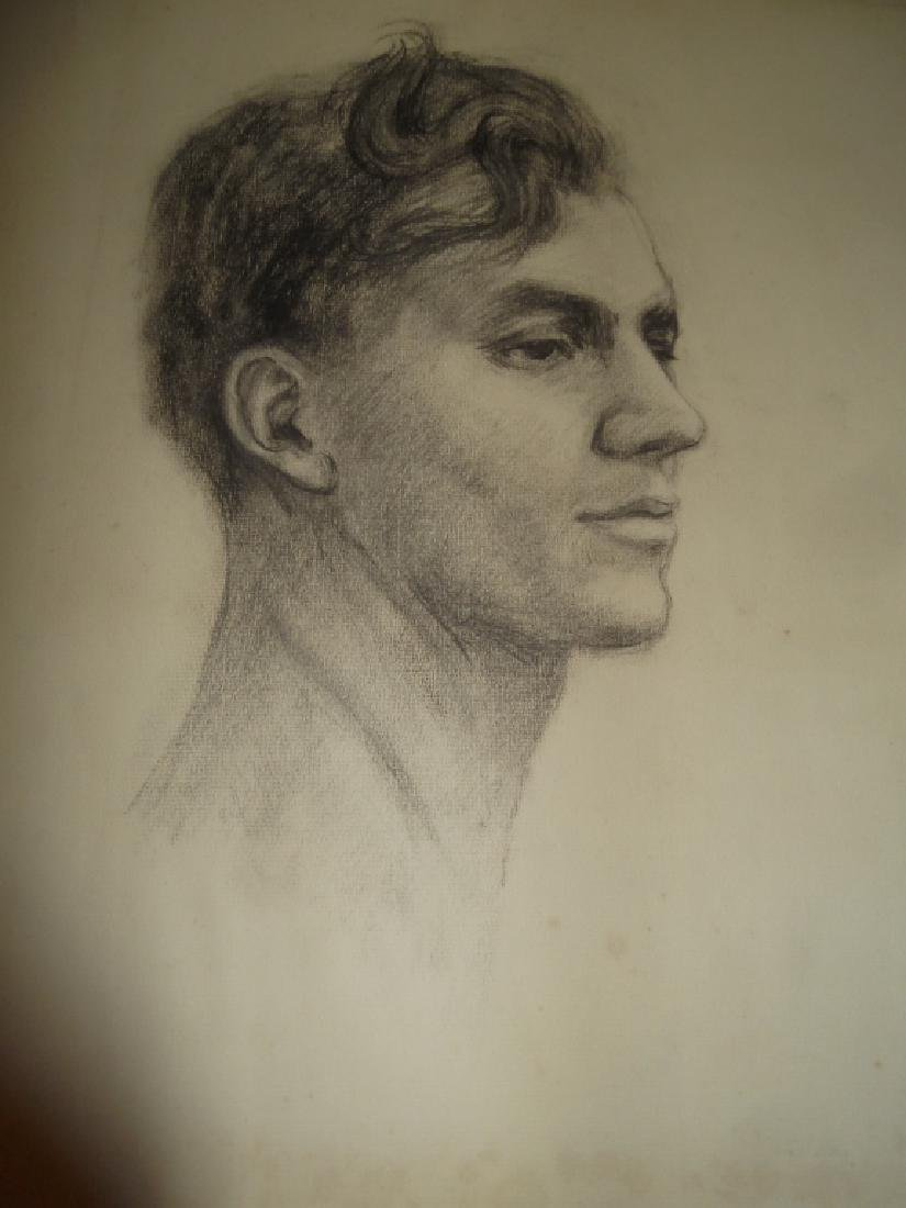3 1920's charcoal/pastel  drawings - 2