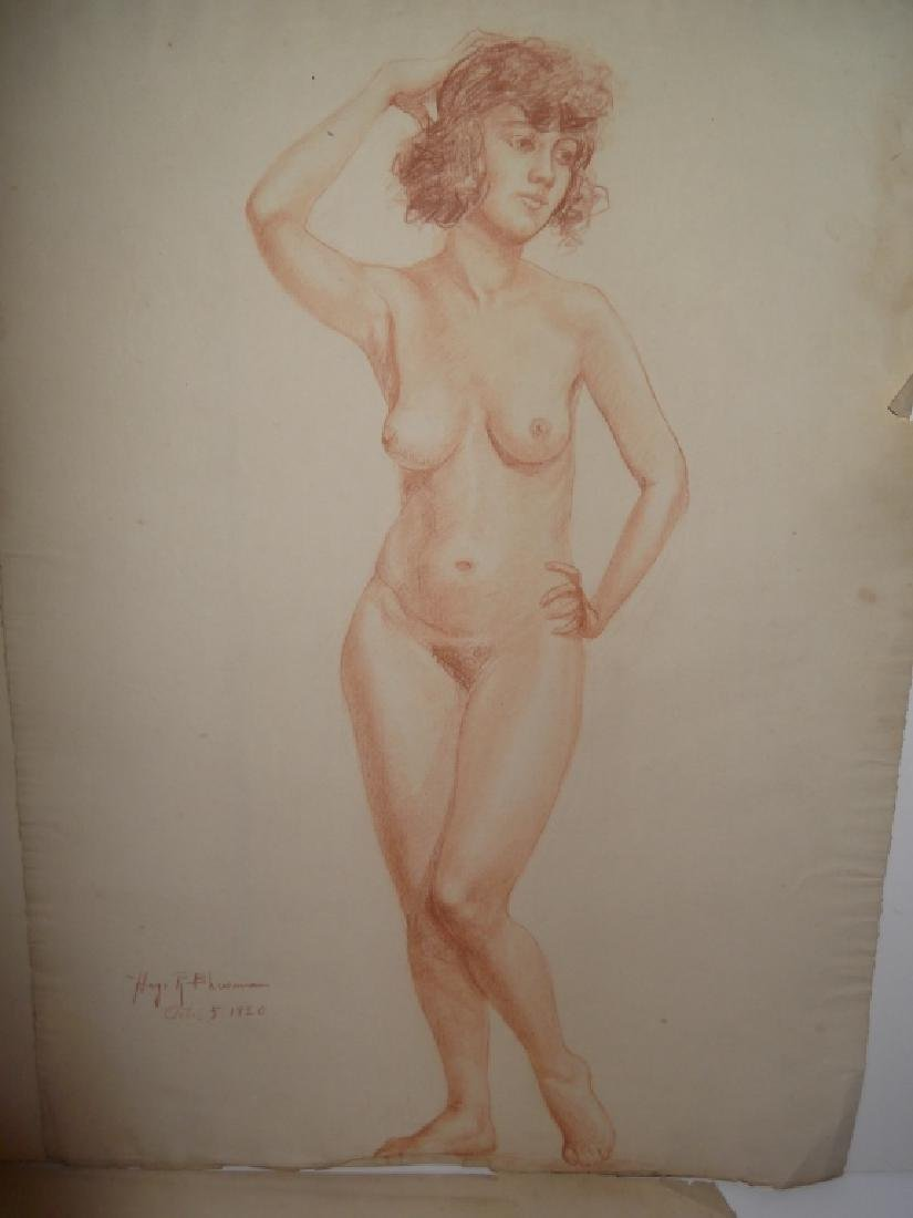 3 1920's charcoal/pastel  drawings - 3