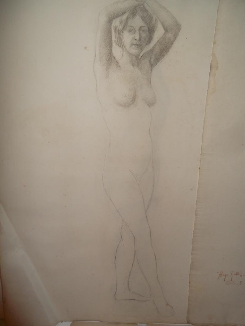3 1920's charcoal/pastel  drawings - 4