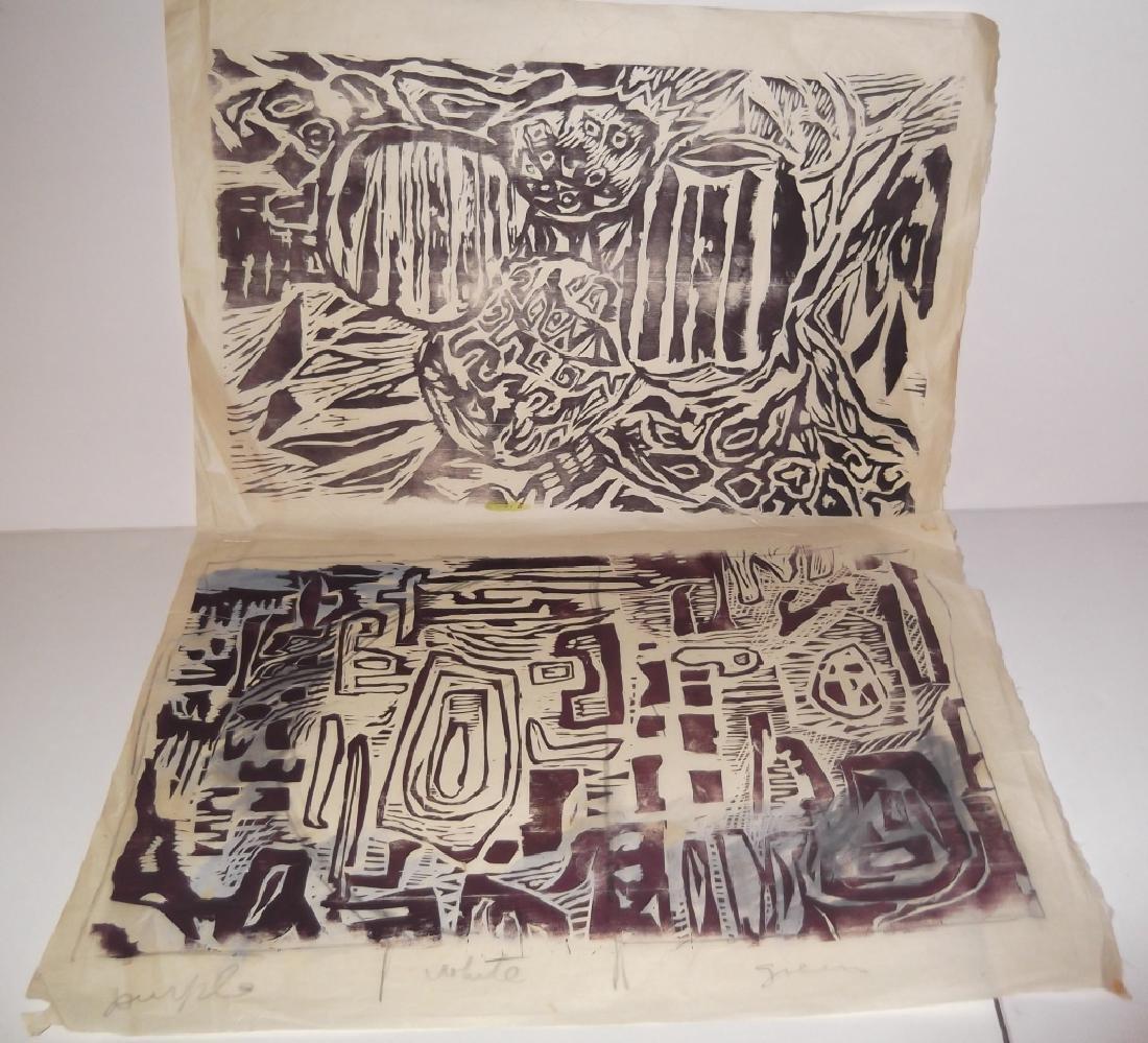 2 large abstract woodblocks