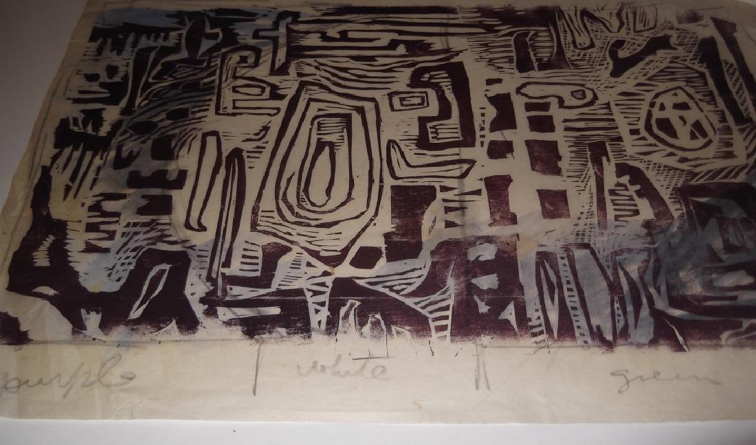 2 large abstract woodblocks - 2