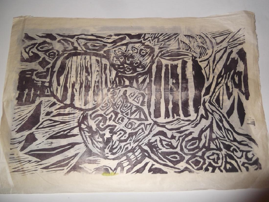 2 large abstract woodblocks - 3