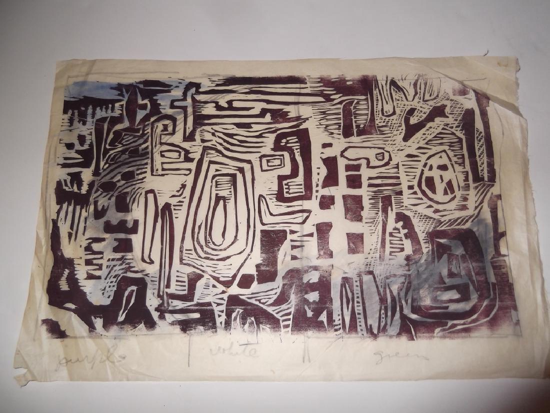 2 large abstract woodblocks - 4