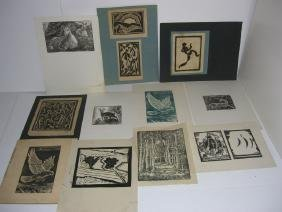 11 woodblock/ lithograph prints