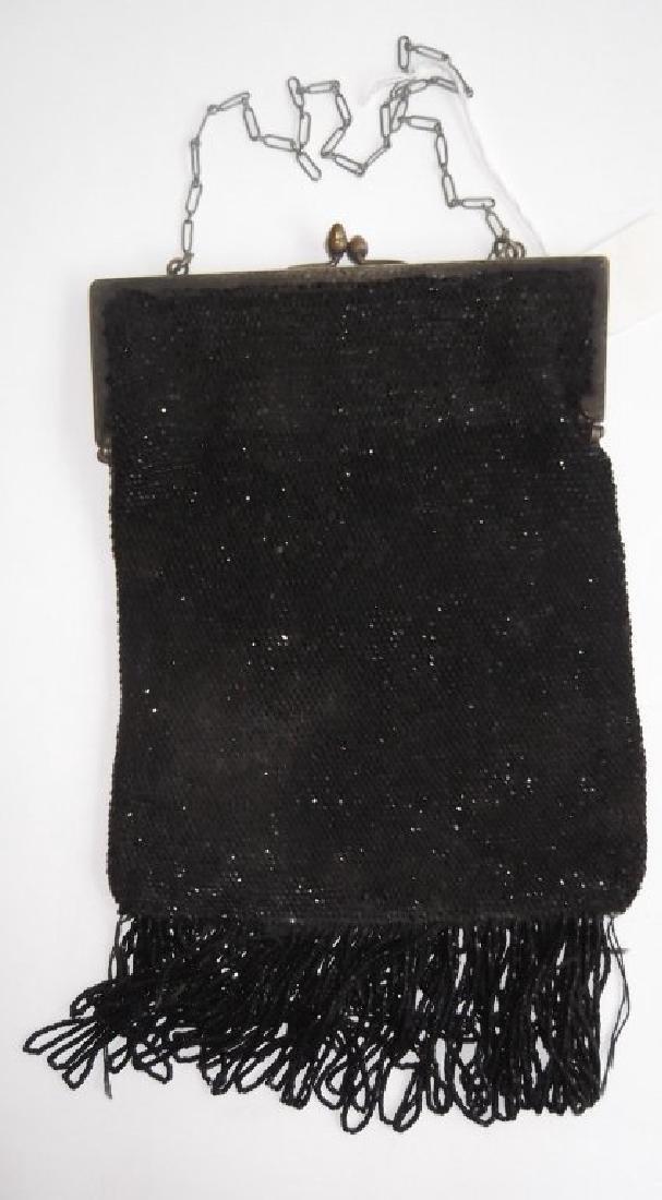 19th c. Jet beaded bag/purse