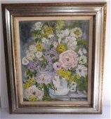 Floral still life oil on board