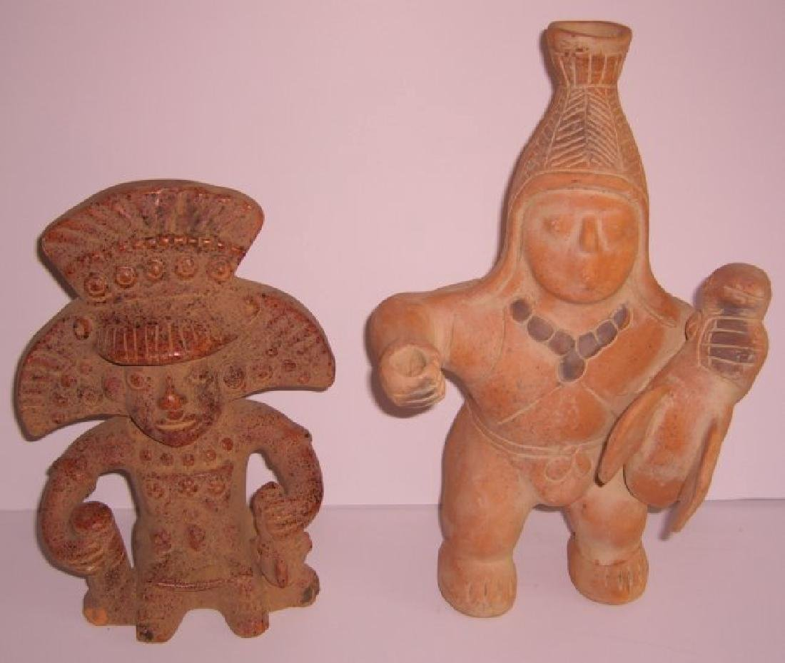2 terra cotta Columbian pottery figures