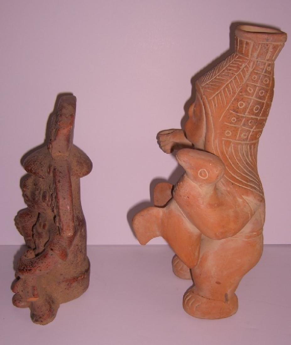2 terra cotta Columbian pottery figures - 5