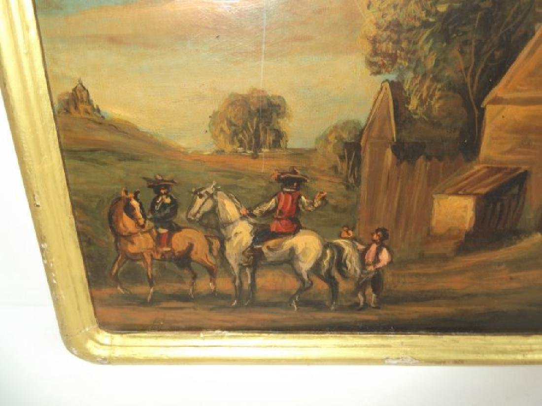 2 oil on board men on horse scenes - 3