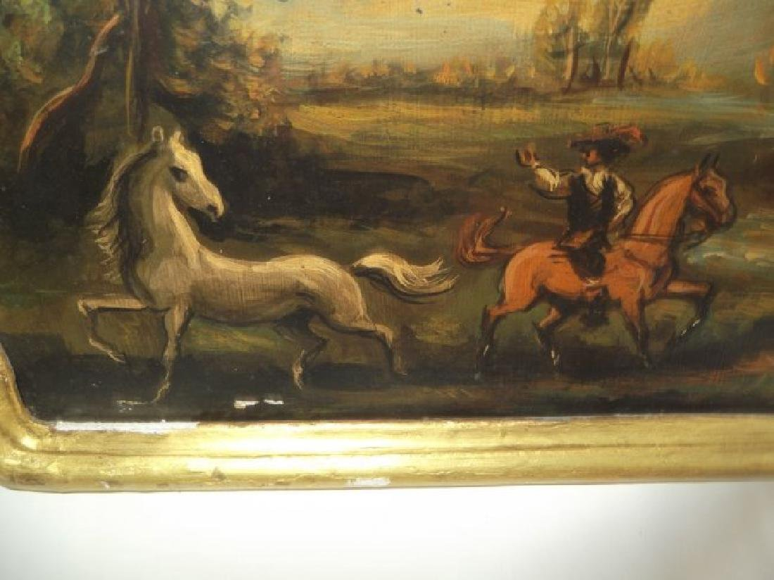 2 oil on board men on horse scenes - 4
