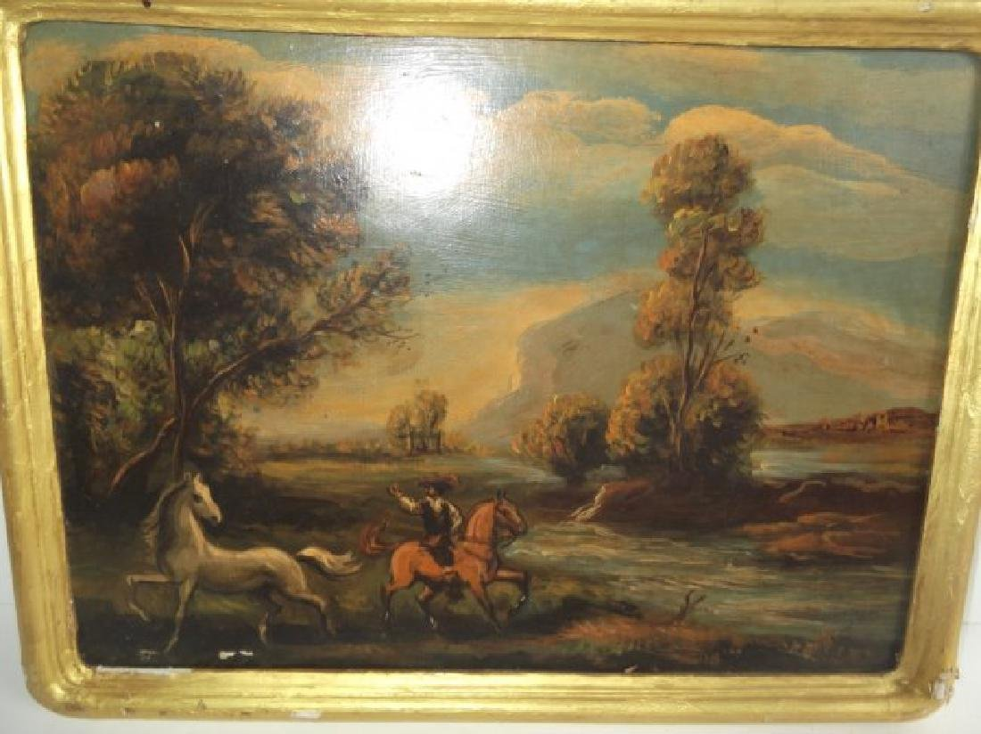 2 oil on board men on horse scenes - 5