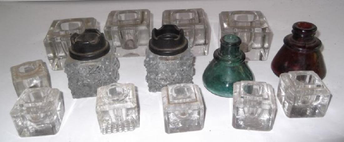 14 antique glass inkwells