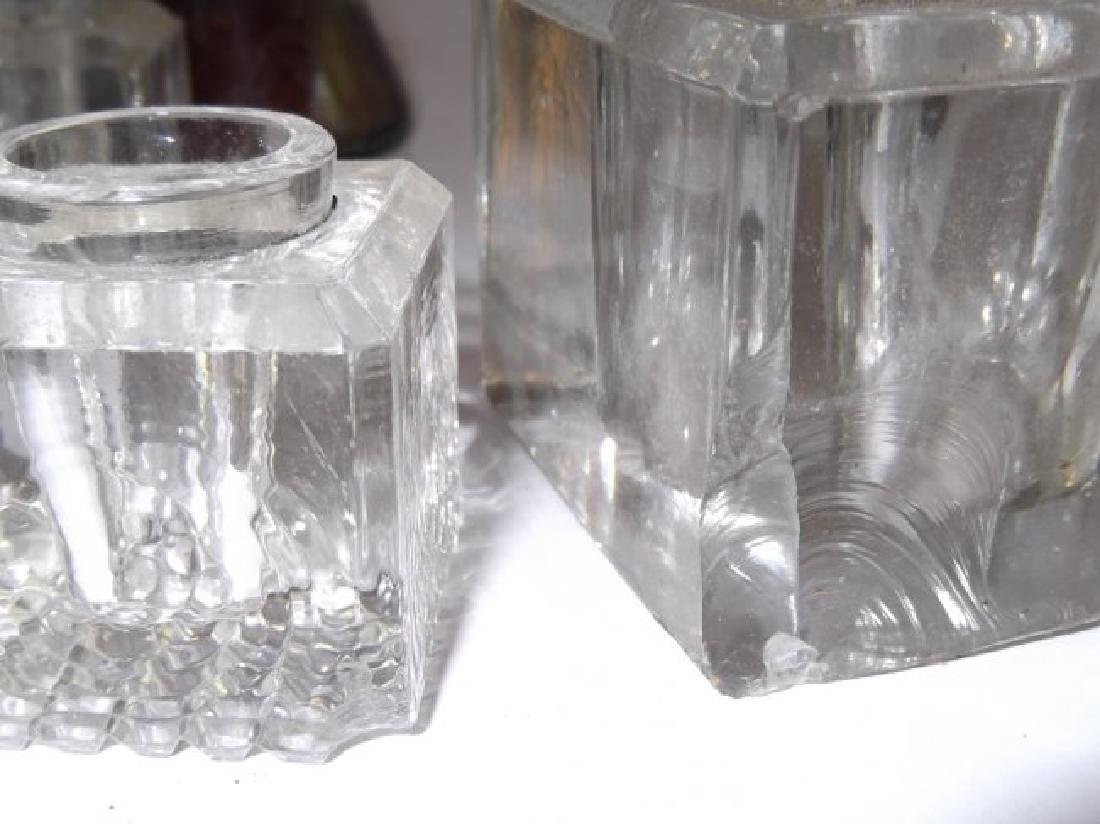 14 antique glass inkwells - 3