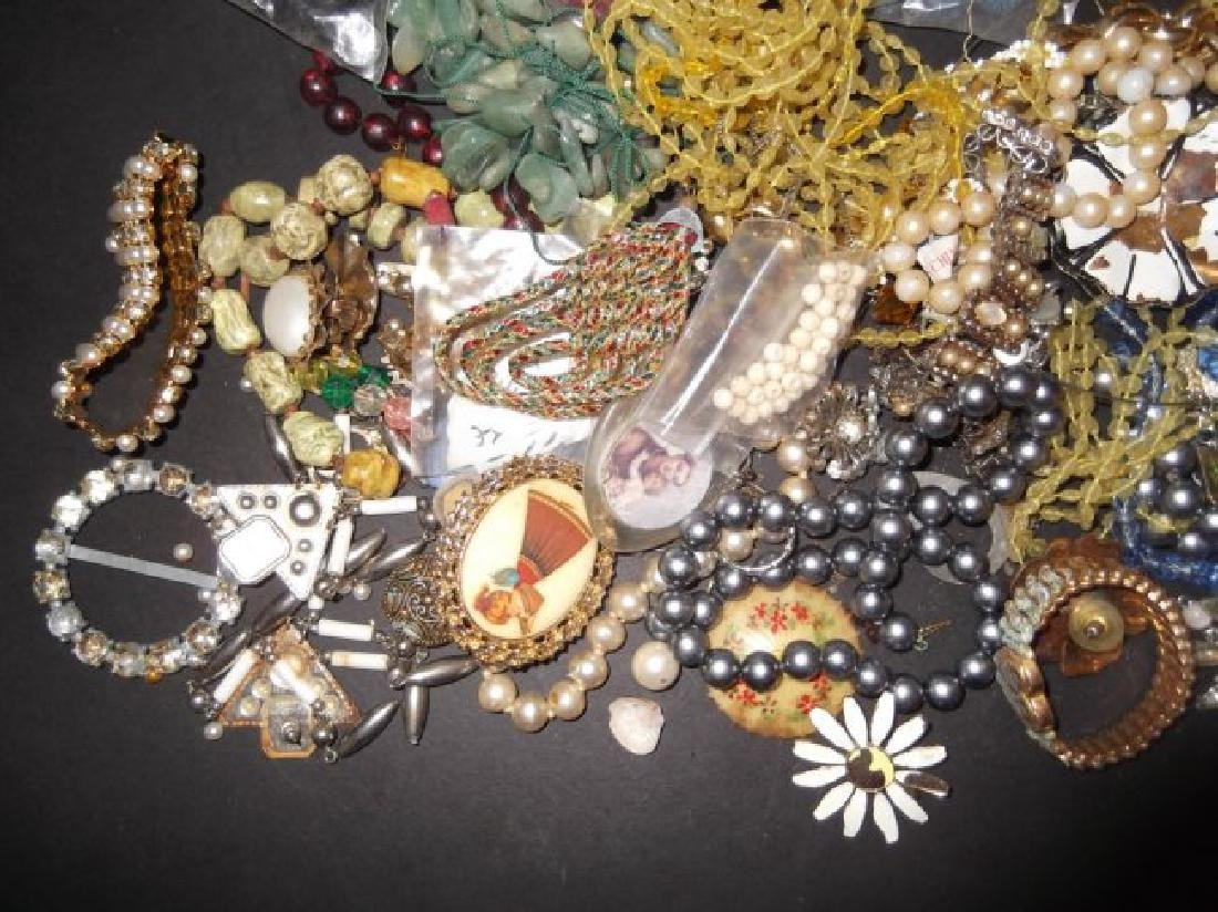 2 1/2 lbs of costume jewelry parts; findings - 2