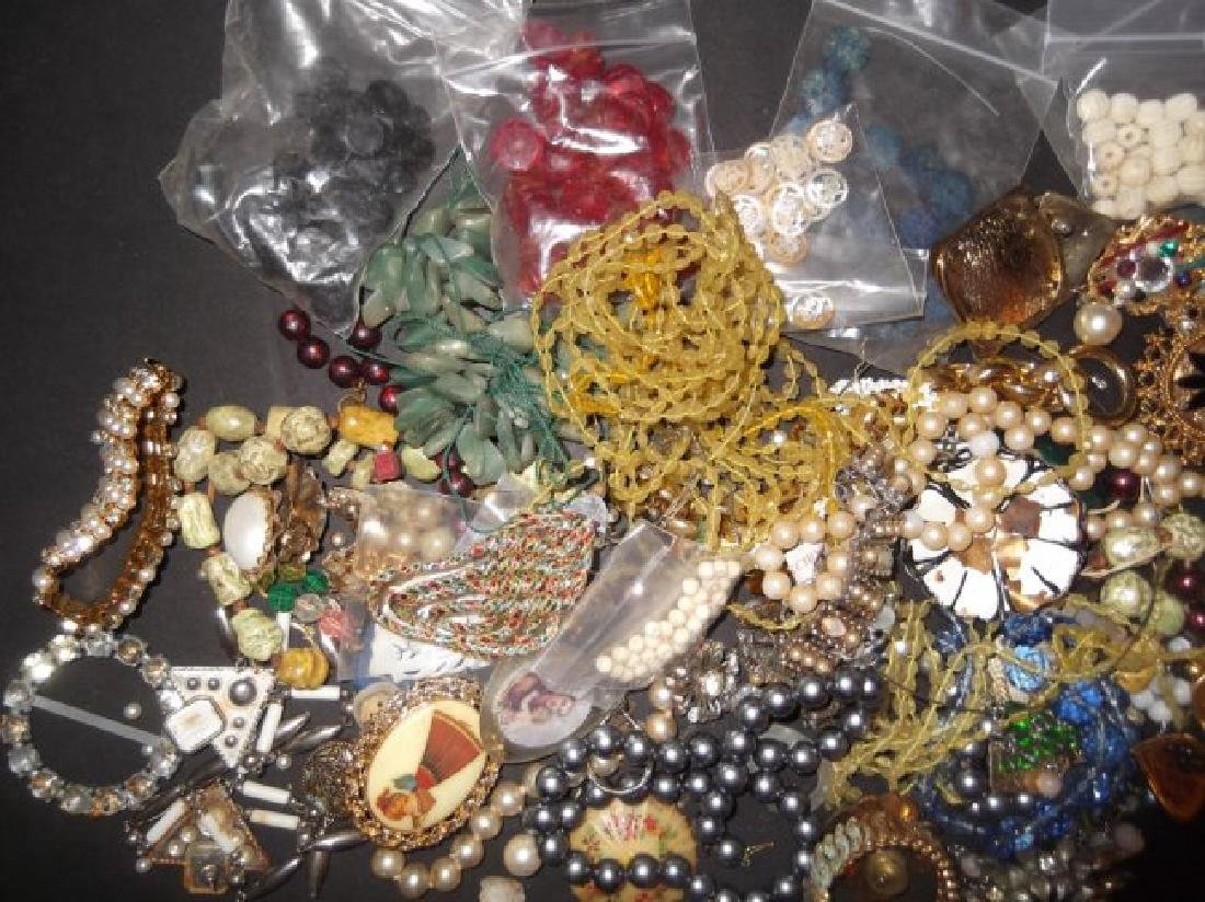 2 1/2 lbs of costume jewelry parts; findings - 4