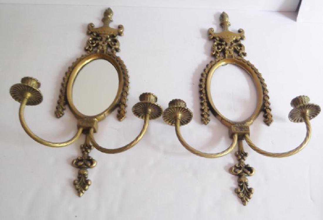 ornate gilt wall hanging mirrored candle holders