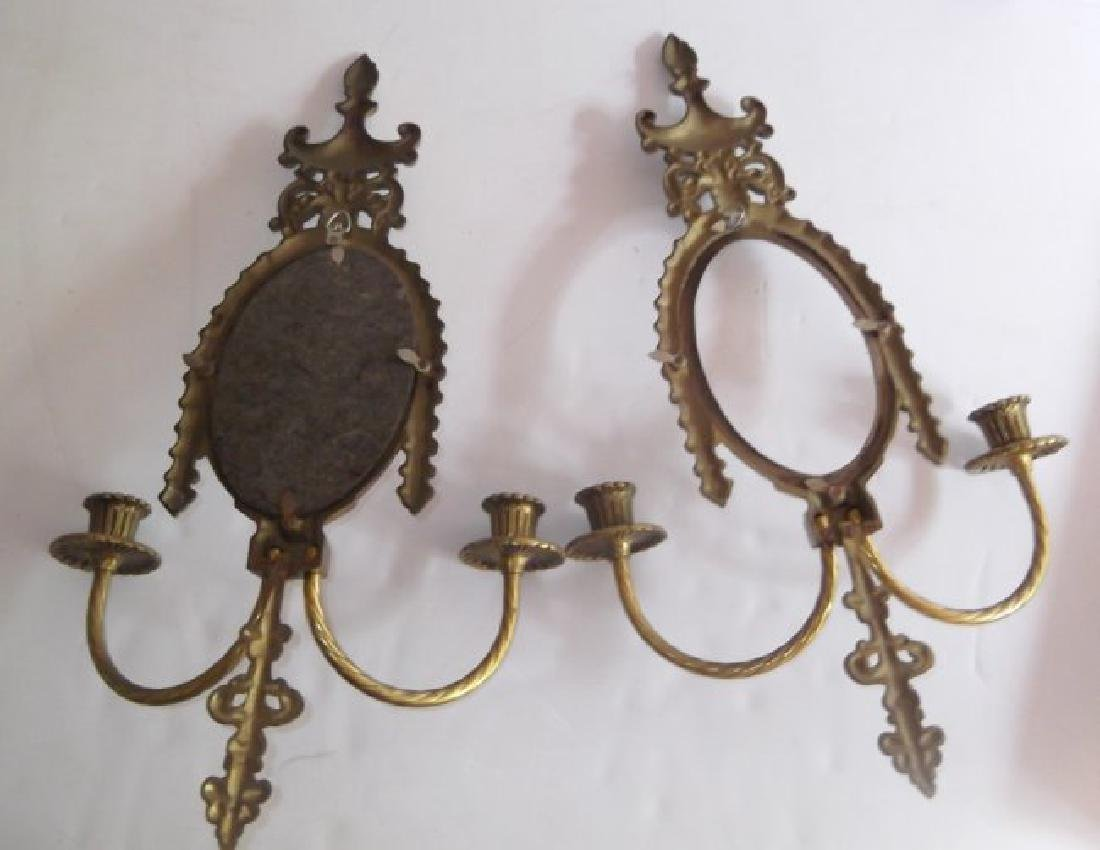 ornate gilt wall hanging mirrored candle holders - 2