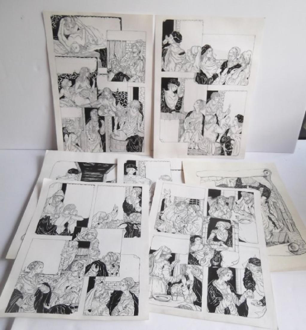 7 original pen & ink drawings/illustrations