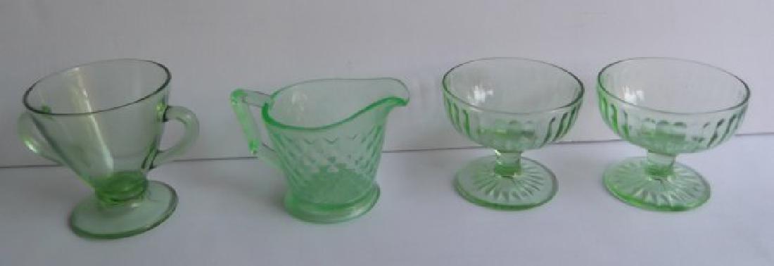 green depression vaseline glass - 2