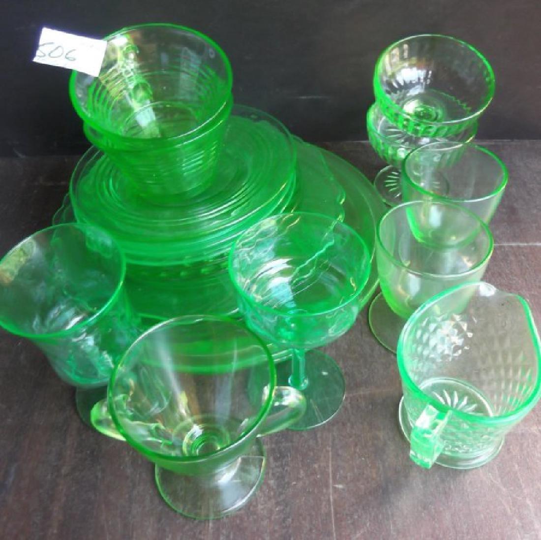 green depression vaseline glass - 3