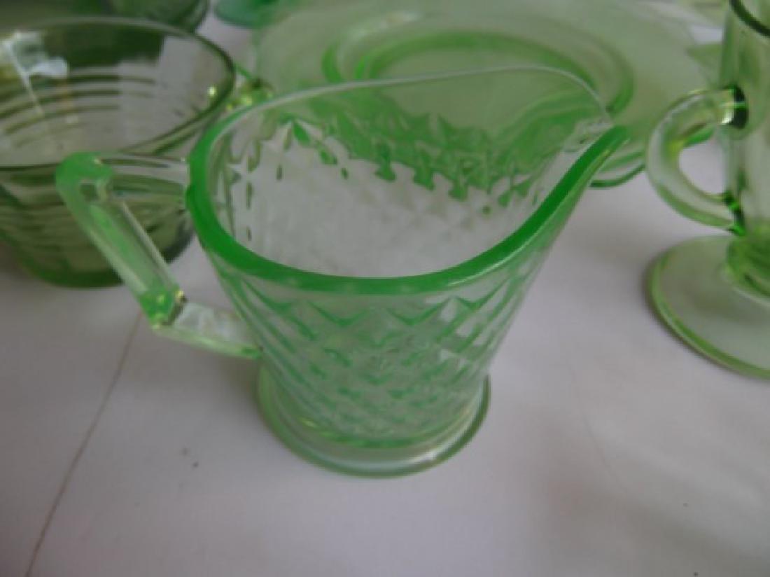 green depression vaseline glass - 4