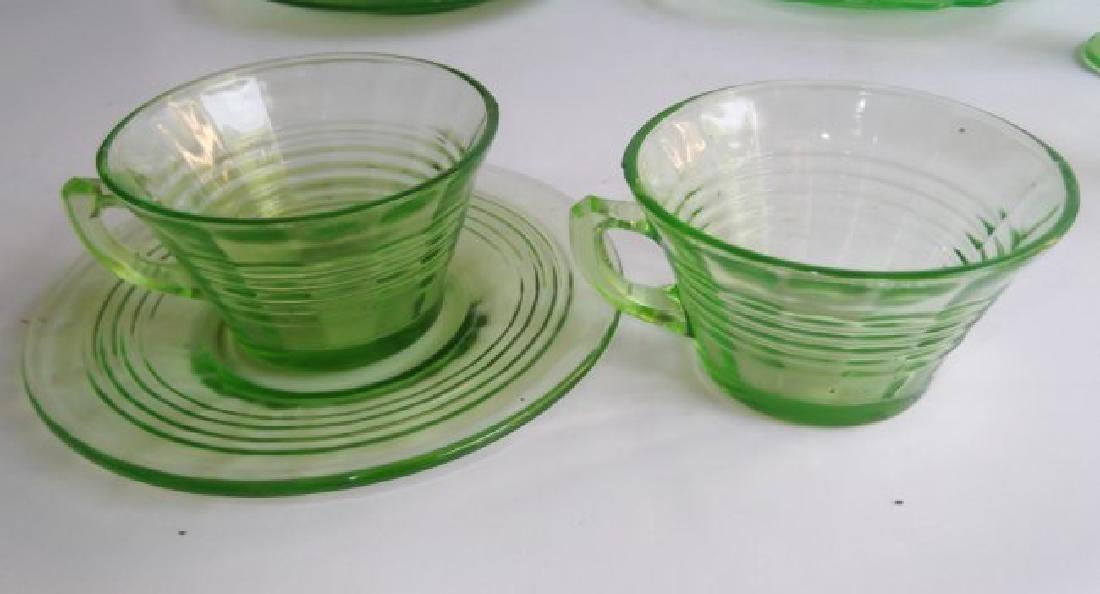 green depression vaseline glass - 5