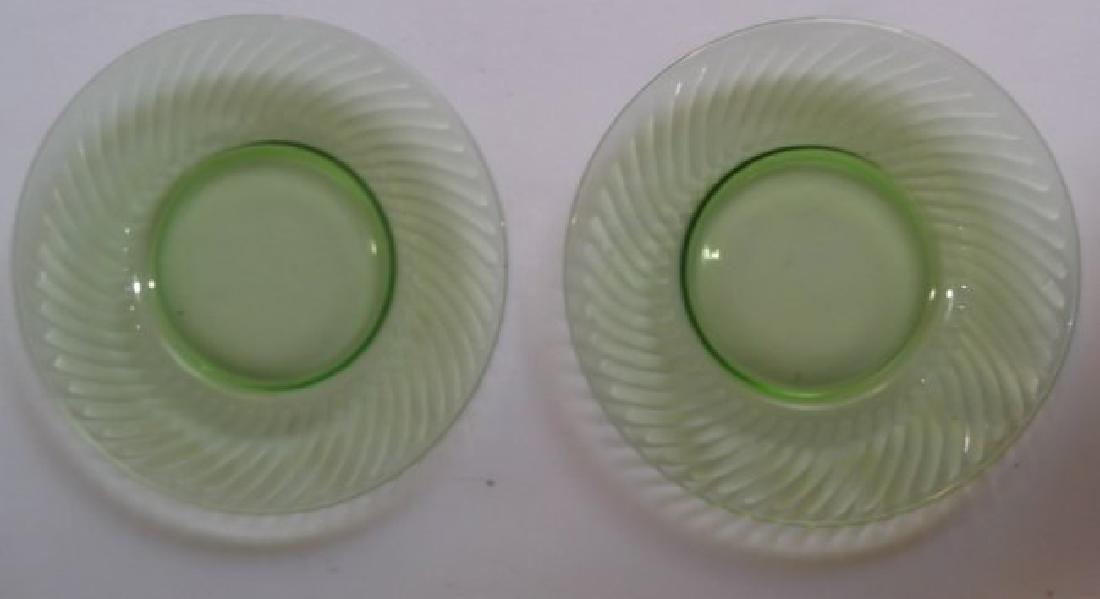 green depression vaseline glass - 7