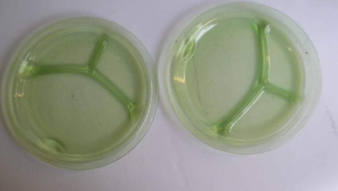 green depression vaseline glass - 8