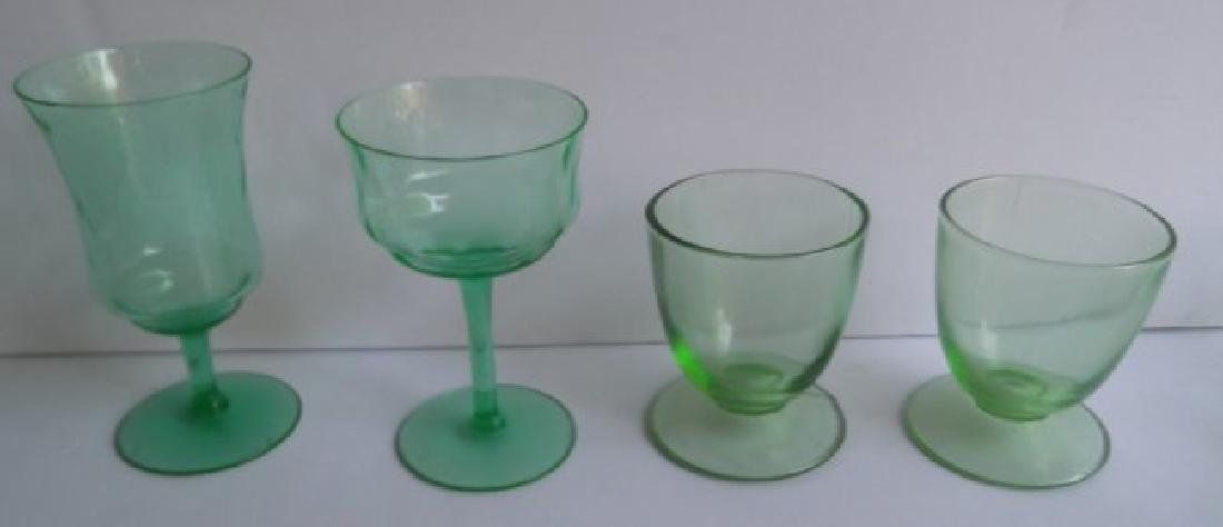 green depression vaseline glass - 9