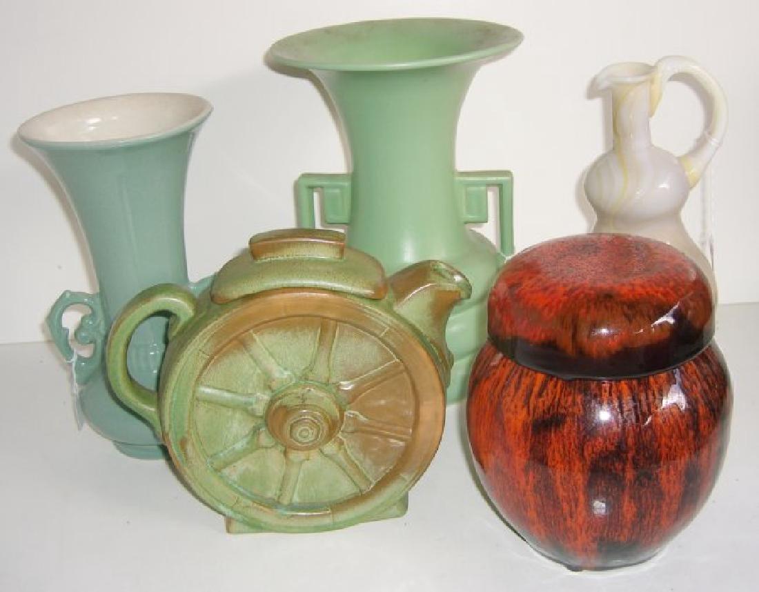 5 piece Mid-century modern vases; teapot