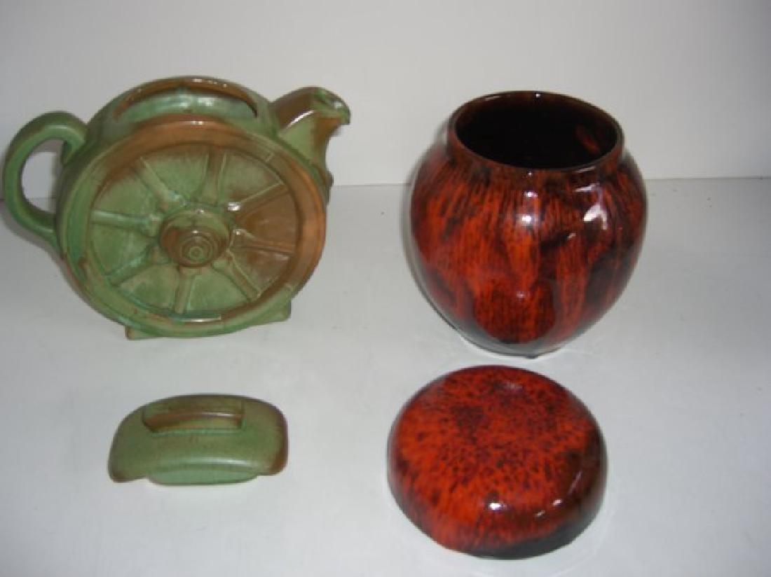 5 piece Mid-century modern vases; teapot - 8