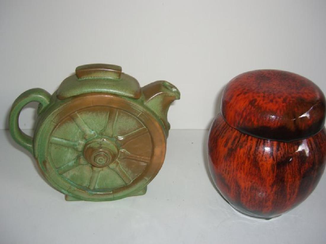 5 piece Mid-century modern vases; teapot - 9